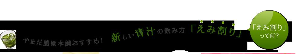 山田農園本舗おすすめ!新しい青汁の飲み方「えみ割り」